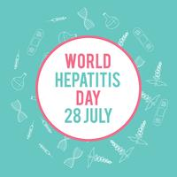 World hepatitis day. Hand drawn medical illustration. Pharmacy vector background.
