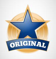 Original star badge, gold medal sign, illustration