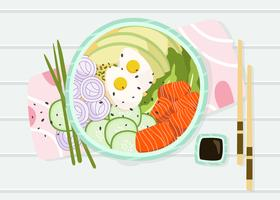 Hawaiischer Teller Poke Bowl Vector