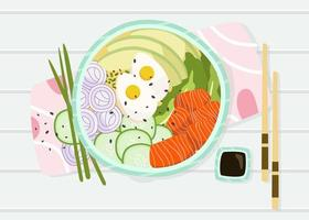Hawaiian Dish Poke Bowl Vector