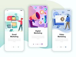 Set of onboarding screens user interface kit for Video, Email, Digital Marketing, mobile app templates concept. Modern UX, UI screen for mobile or responsive web site. Vector illustration.