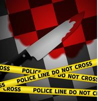 Crime scene with yellow police tape, graphic illustratin vector