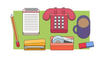 Vintage Office Items Vector