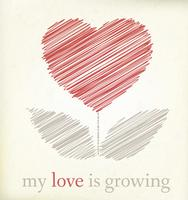 Growing heart on vintage paper, graphic illustratin vector
