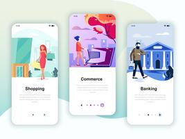 Set di kit di interfaccia utente per schermi onboarding per Shopping