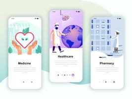 Set of onboarding screens user interface kit for Medicine