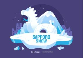 World Wide Sapporo Snow Festival Vector Illustration