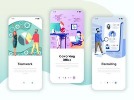 Set of onboarding screens user interface kit for Teamwork
