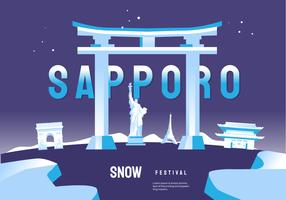 World Wide Landmark At Sapporo Snow Festival Vector Illustration