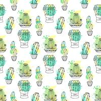 Seamless vector pattern with cactus