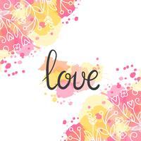 Tarjeta de amor Dibujado a mano diseño de letras vector