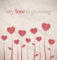 Growing hearts on crumpled paper