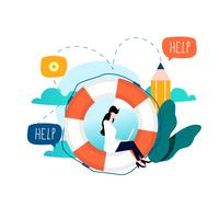 Customer service, customer assistance flat vector illustration