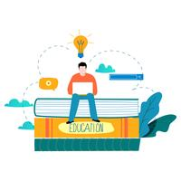 Education, online training courses, distance education flat vector illustration