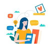 Istruzione, corsi di formazione online, illustrazione vettoriale di formazione a distanza