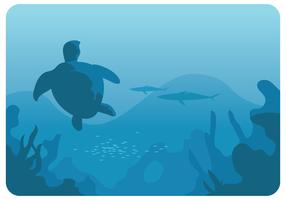 Turtle in The Deep Sea Vector