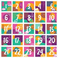 asiatisk advent kalender vektor design