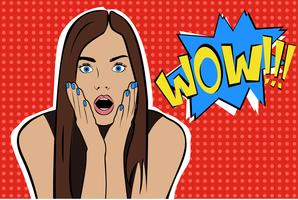 Pop art surprised brunette woman face with open mouth