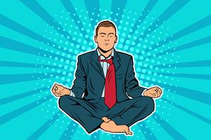 Young businessman sitting in lotus position pop art comic book style