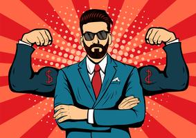 Hipster beard businessman with muscles pop art retro style