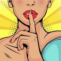 Vacker kvinna lägger fingret mot sina läppar och kräver tystnad