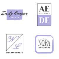 Vrouwelijk Vintage Retro Vector Logo