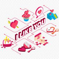 Illustration des grafischen Valentinsgruß-Ikonenkonzeptes der Informationen