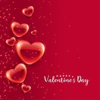 rote Blasenherzen, die Valentinstaghintergrund schwimmen