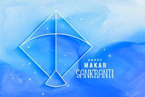 Makar Sankranti Aquarell Blau Hintergrund