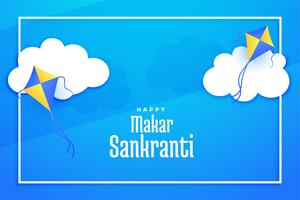 flying kites on clouds makar sankranti background