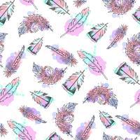 Dibujado a mano plumas de patrones sin fisuras.