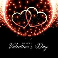 glödande hjärtan valentines dag bakgrund