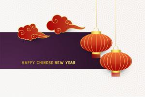 happy chinese new year decorative background with clouds and lamps