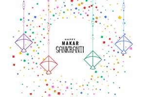 makar sankranti kites with colorful confetti background