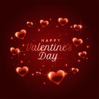 Hermoso fondo de marco de corazones brillantes para el día de San Valentín