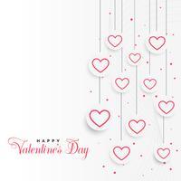 fond de Saint Valentin avec des coeurs suspendus