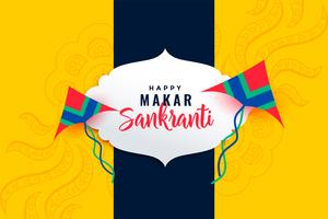 happy makar sankranti festival background with flying kites