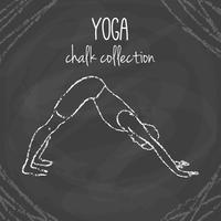 Chalk yoga pose illustrations on blackboard