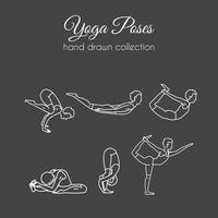 Vector yoga utgör samling. Asana illustrationer.