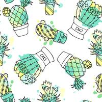 Colorful background with watercolor splashes succulent collection