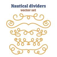 Nautical ropes. Dividers set. Decorative vector knots.