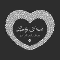 Pearl heart. Vector frame in heart shape. White pearls design.