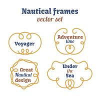 Nautical frames set. Ropes swirls. Decorative vector knots.