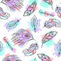 Hand drawn feathers seamless pattern.