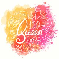 Queen Typography Design. Lettering print for t-shirt.
