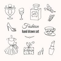 Hand sketched collection of French fashion elements vector