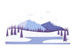 Vektor vinter landskap illustration