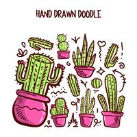Vector de cactus y suculentas. Doodle conjunto de ilustración.