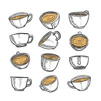 Hand Drawn Sketch of A cup of Coffee in any Position
