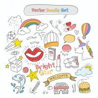 Jeu de doodle coloré de vecteur